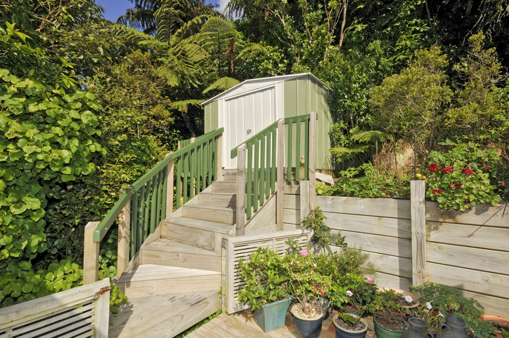 Kitset garden shed on custom foundations with steps in Wellington - by Grumpy Bob