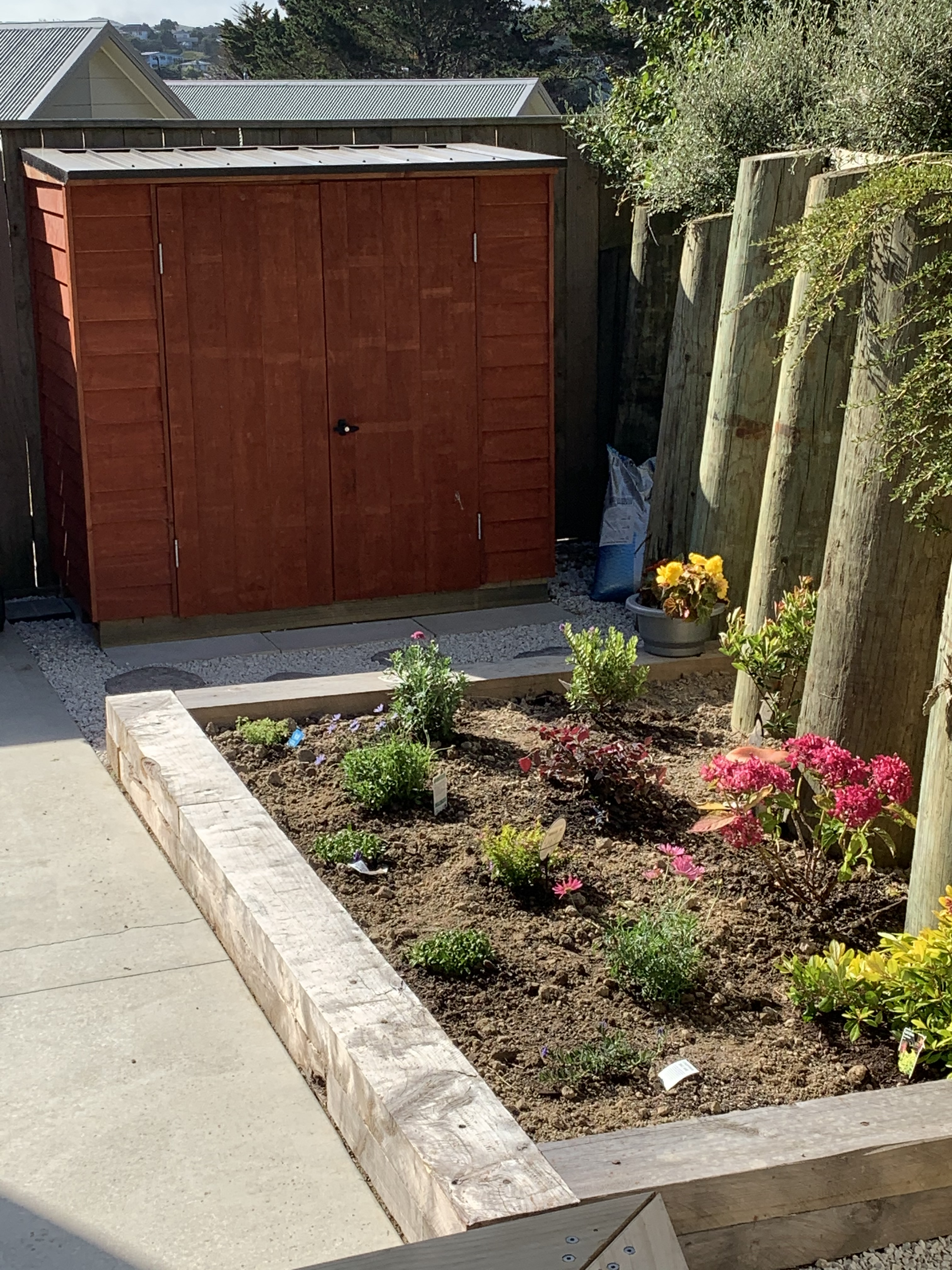 Wellington townhouse kitset shed, raised macrocarpa sleepers flower garden, pavers and ground cover - by Grumpy Bob